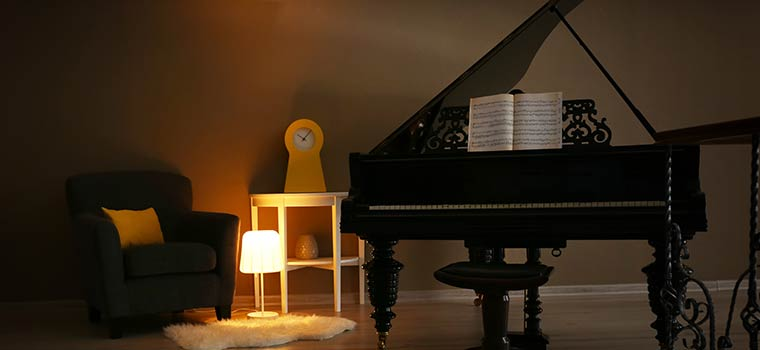 Grand piano in an atmospheric room